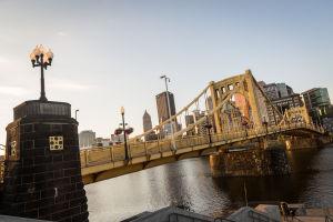 The Sun Rises on the Roberto Clemente Bridge